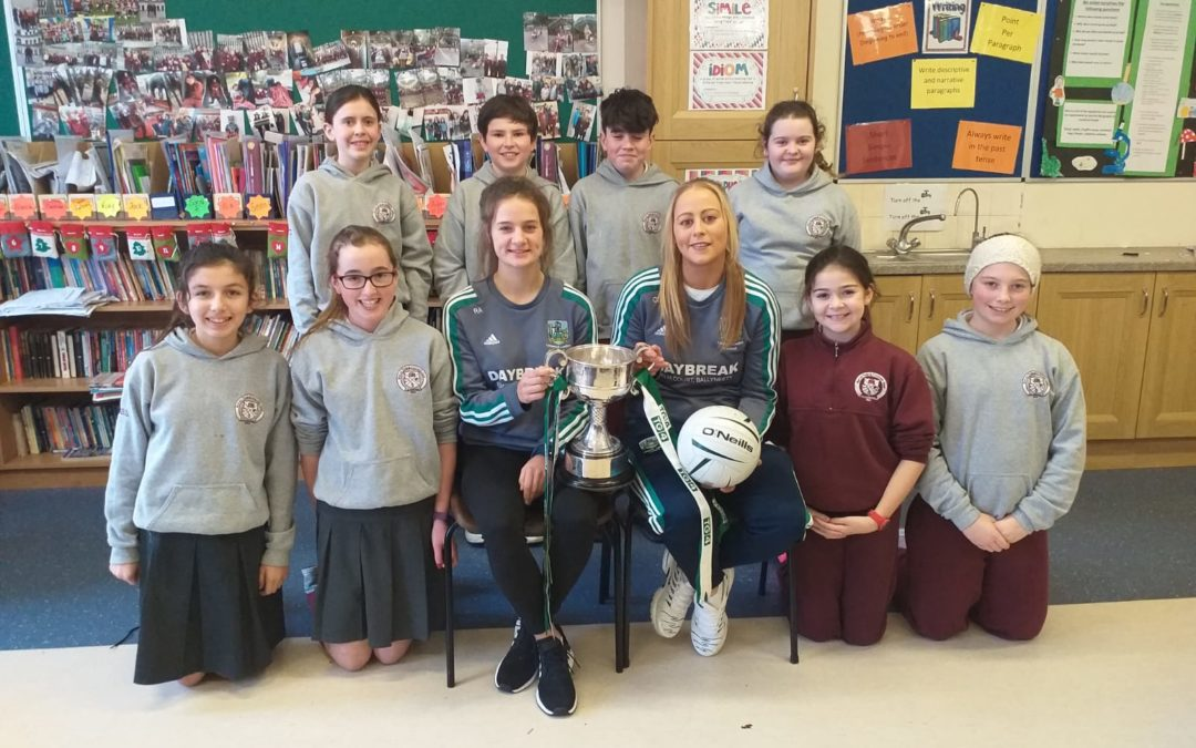 All Ireland Champions Roisín Ambrose and Catriona Davis visit Killoughteen NS