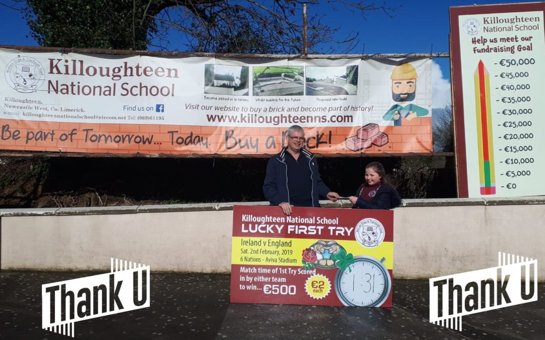 First Try winner Sam King collects his prize in Killoughteen NS