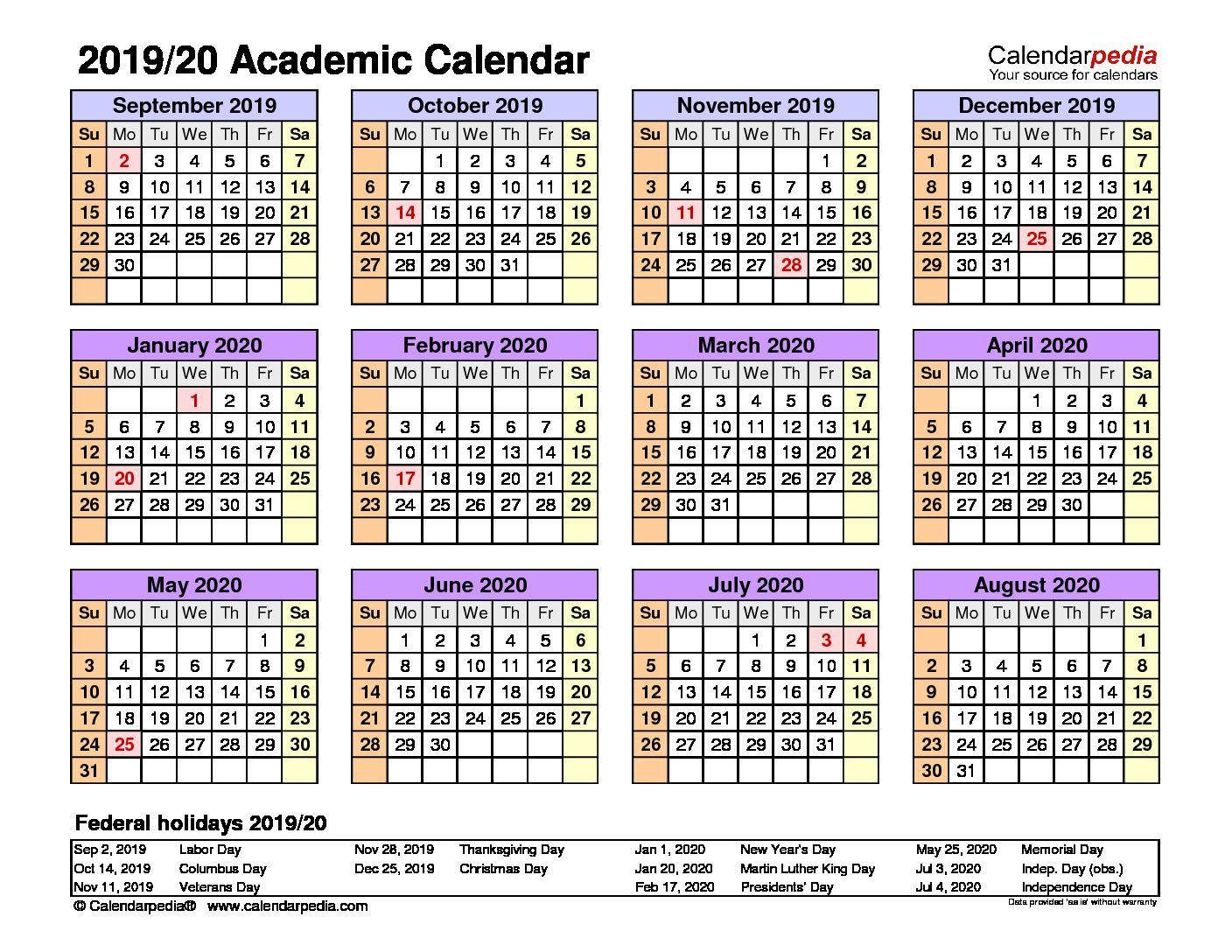 Information for school year 2019/20 – class arrangements/ calendar/ booklists