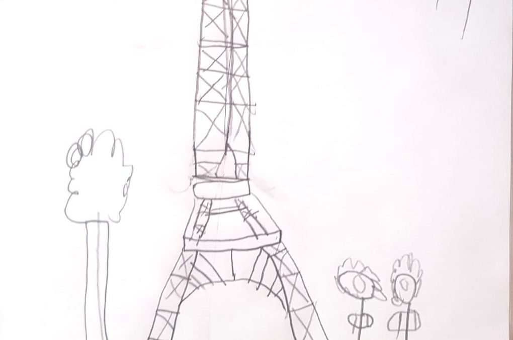 Senior Infants drew the Eiffel Tower after learning about France